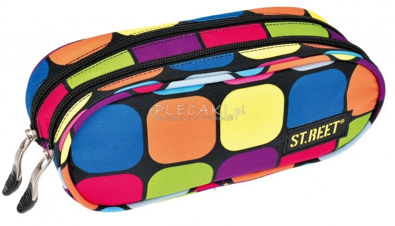 Piórnik szkolny / saszetka podwójna ST.REET w kolorowe kwadraty SQUARES