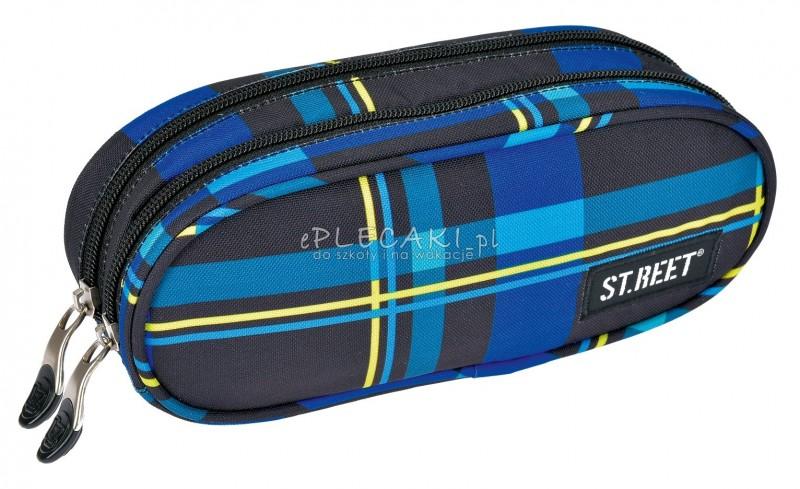 Piórnik szkolny / saszetka podwójna ST.REET czarno - niebieska w kratkę CHEQUERED BLACK&NAVY