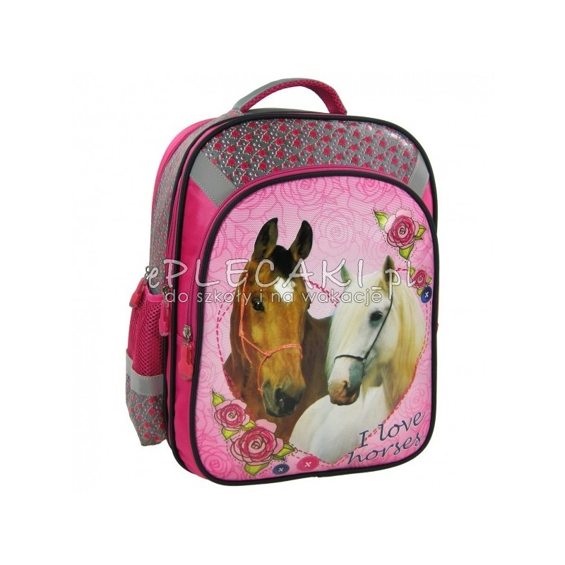 934c01df83017 Plecak szkolny z białym i brązowym koniem dla dziewczynki - różowy