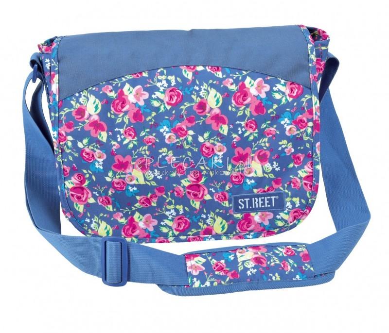 Torba na ramię listonoszka 01 ST.REET niebieska w kwiaty FLOWERS 2 NAVY BLUE