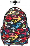 Plecak na kółkach ST.REET czarny w kolorowe strzałki ARROWS