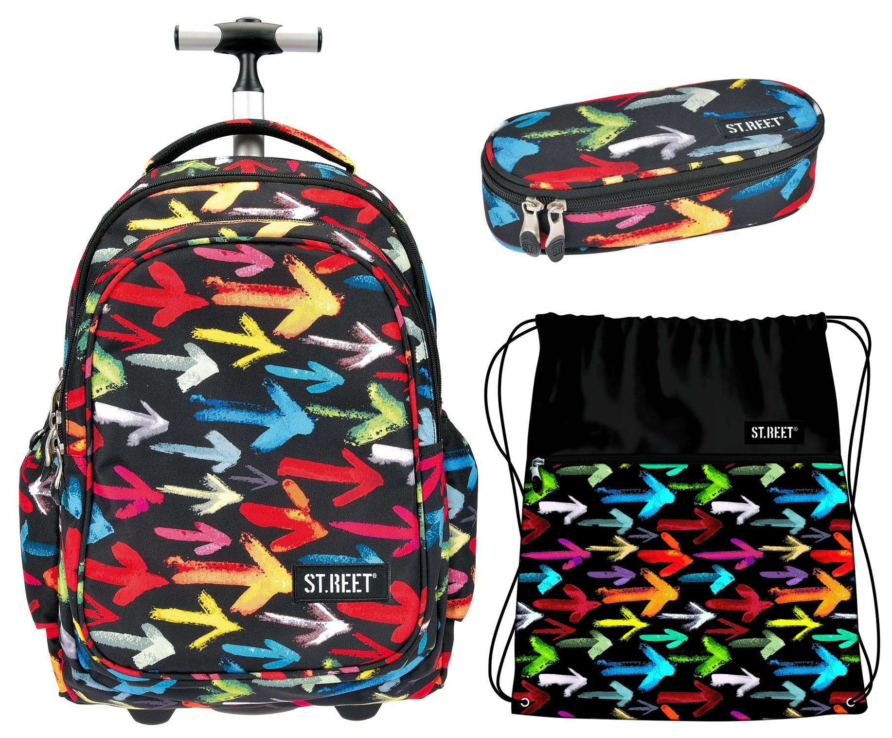 139779d6dc9cb Zestaw ST.REET Arrows: Plecak na kółkach + worek + piórnik - ePlecaki do  szkoły i na wakacje