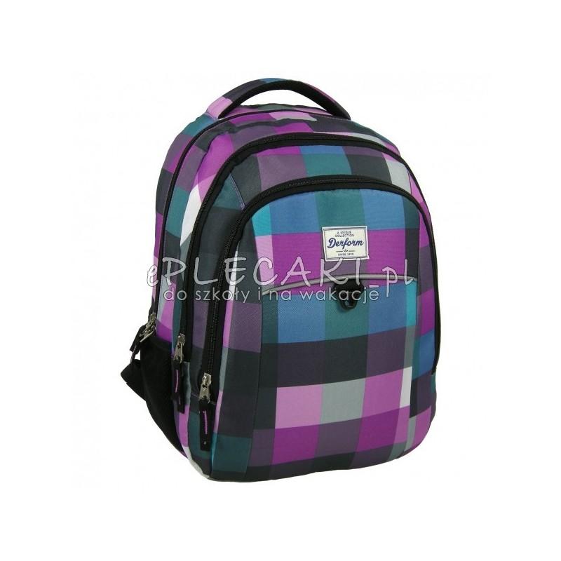 a8155776865c3 Plecak młodzieżowy do szkoły Derform dla dziewczyny w kratkę - fiolet