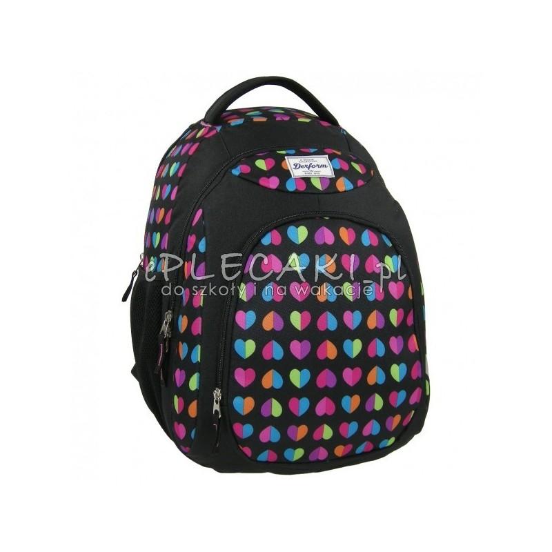 1b247c6252e01 Plecak młodzieżowy Derform dla dziewczyny - czarny w serduszka