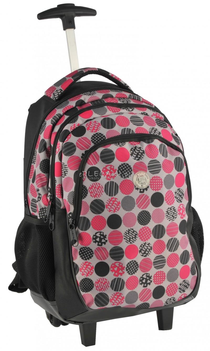 75763c0b41fd5 Plecak szkolny na kółkach dla dziewczynki w grochy
