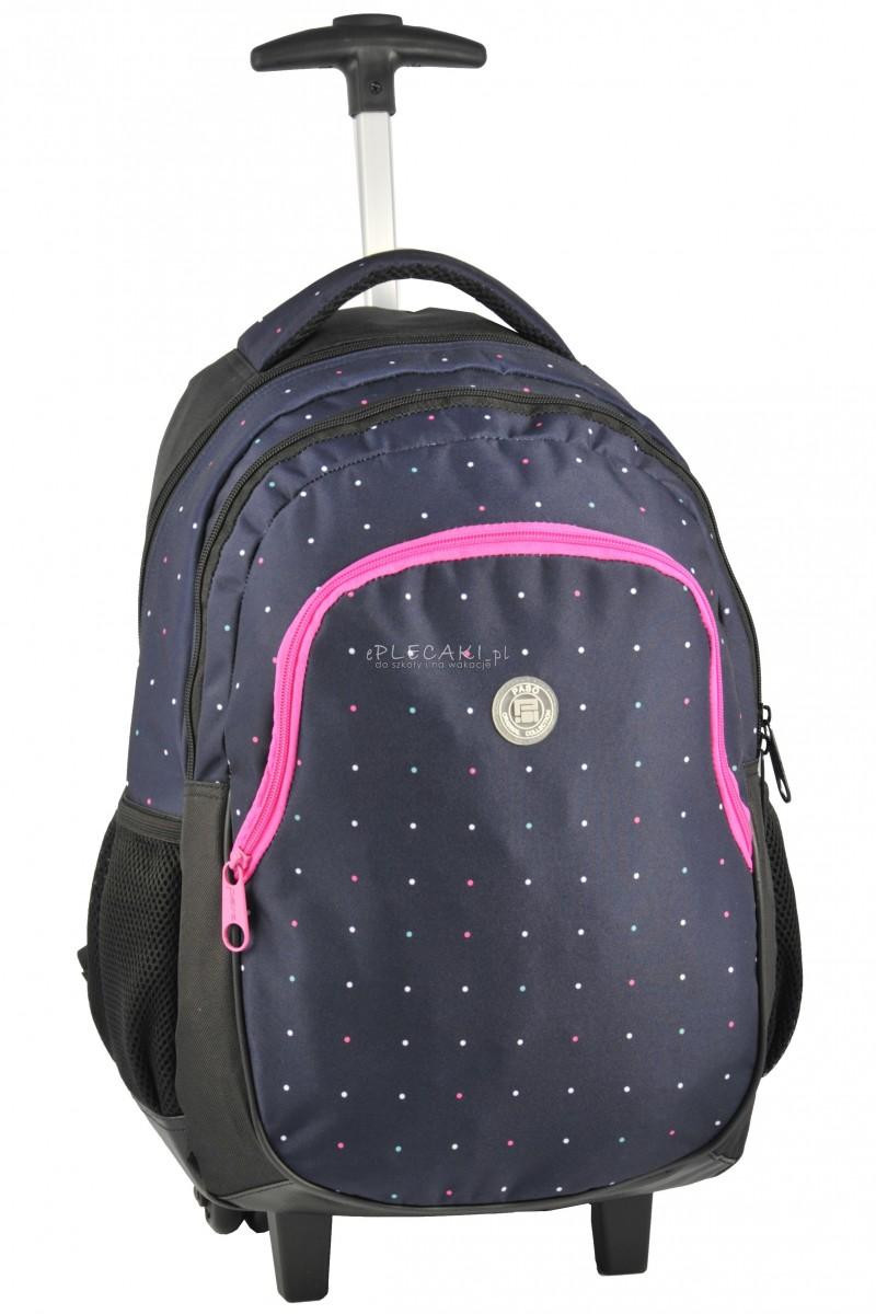d2fe23c72d106 Plecak szkolny na kółkach dla dziewczynki - granatowy w kropki