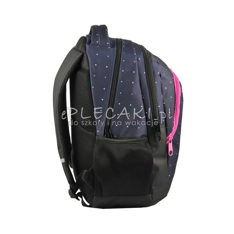 ad75370213624 Granatowy plecak w kropki z 2 komorami - lekki z nowej kolekcji Paso