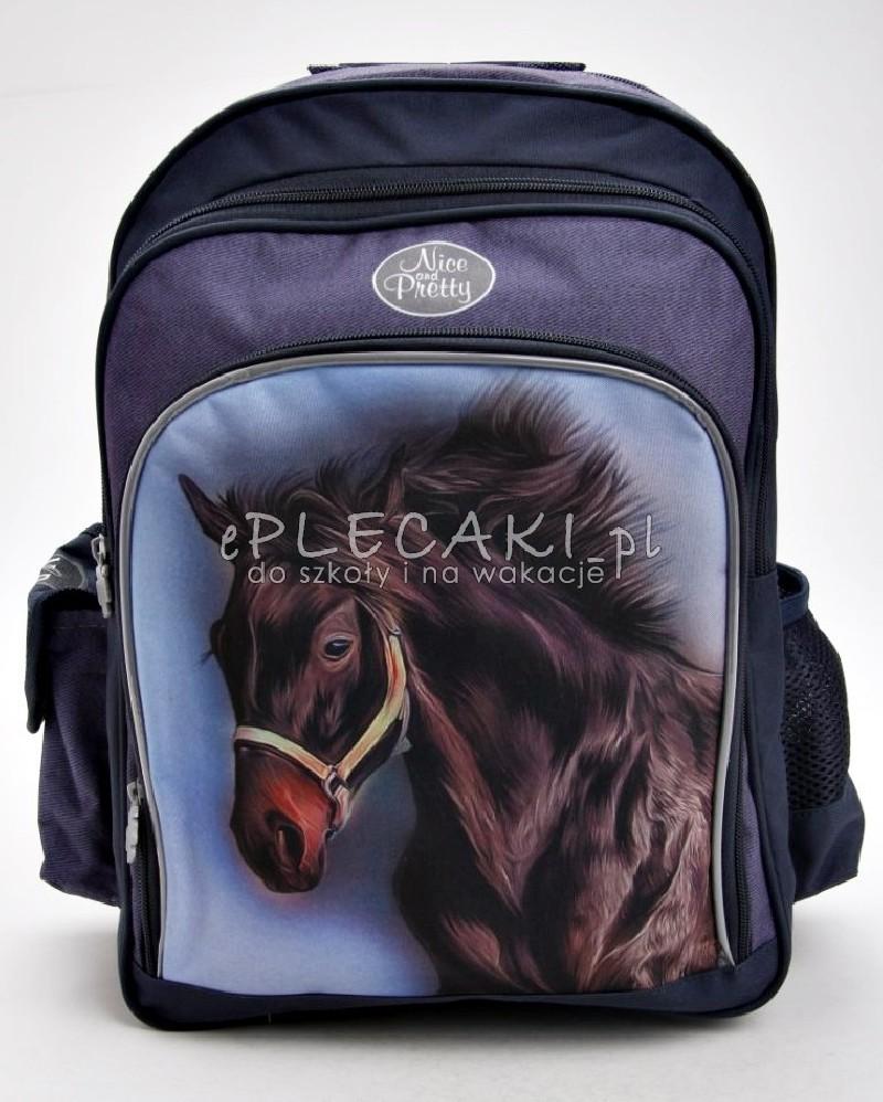 5bc36df17e693 Plecak szkolny dla dziewczynki lub dla chłopca z czarnym koniem