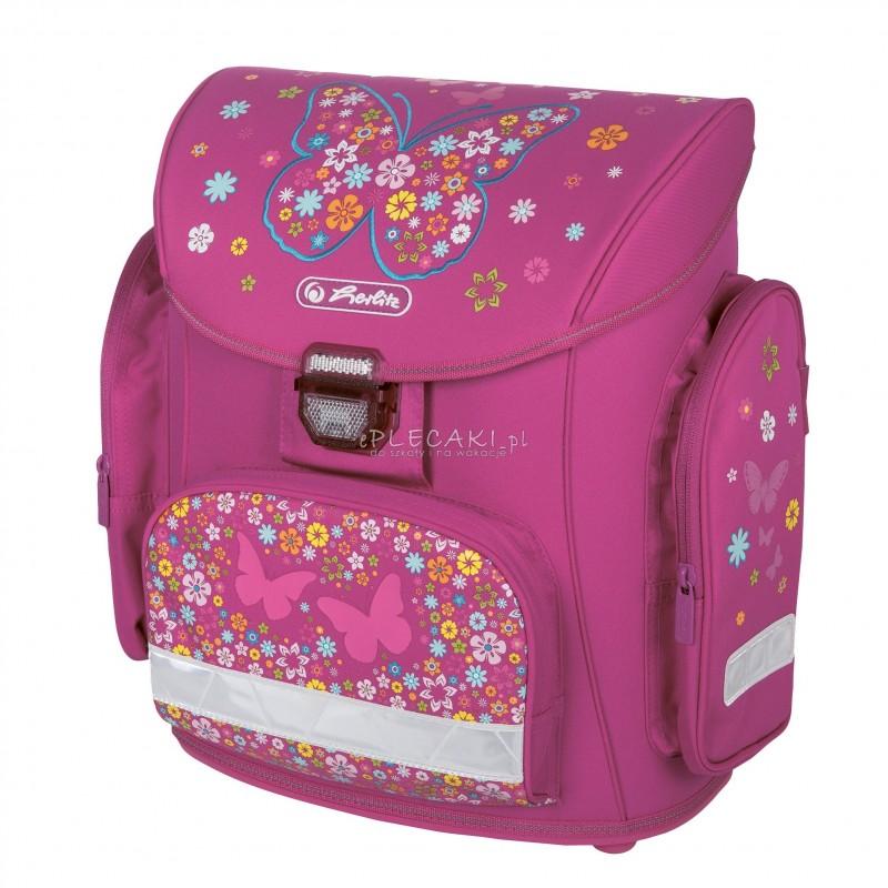 2b58f388ebc40 Tornister szkolny Herlitz Midi dla dziewczynki - różowy w motyle i ...