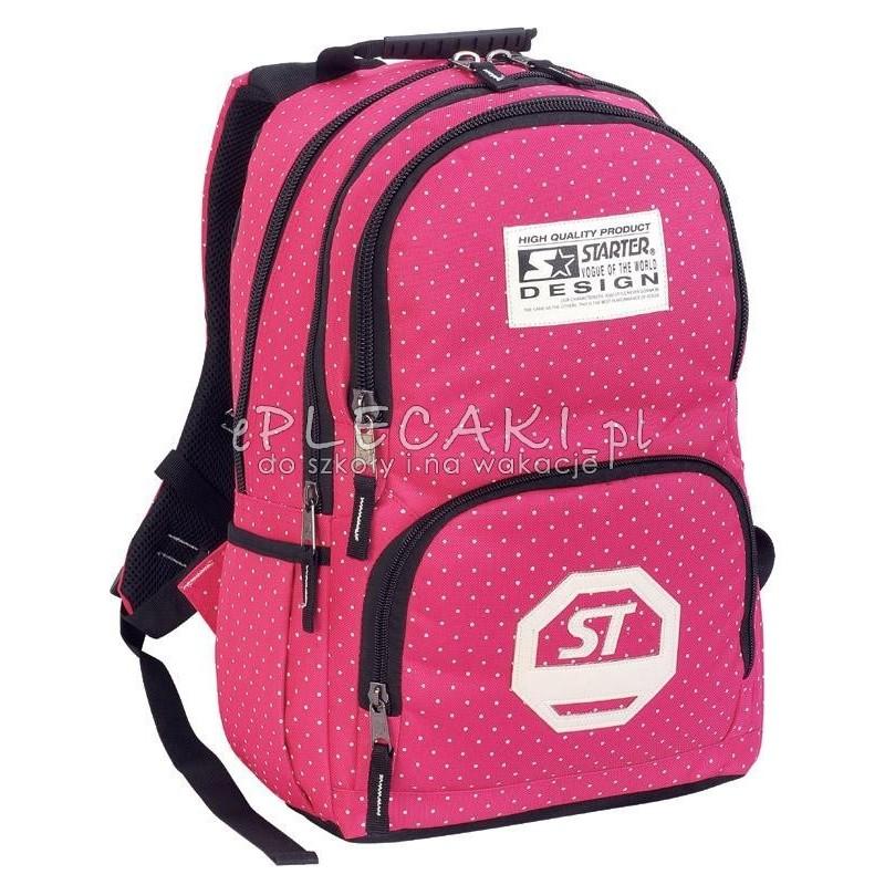 92b643dc4de91 Plecak szkolny dla chłopca STARTER 0063 - różowy w kropki