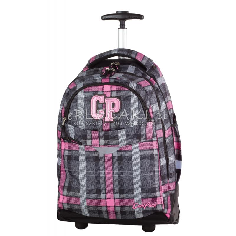 Plecak na kółkach CoolPack CP szaro-różowy w kratkę RAPID SCOTISH DAWN 694 - szkocka kratka dla dziewczynki
