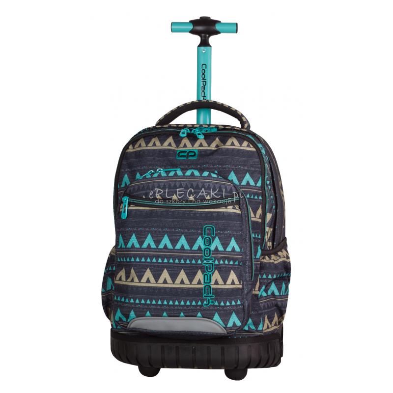 Plecak na kółkach CoolPack CP etno szary SWIFT EMERALD ETHNIC 929 w zygzaki, aztecki dla dziewczyny