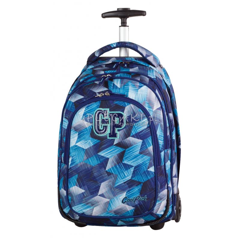 Plecak na kółkach CoolPack CP niebieskie kryształy TARGET FROZEN BLUE 638 dla chłopca - niebieski plecak szkolny w kratkę dla d