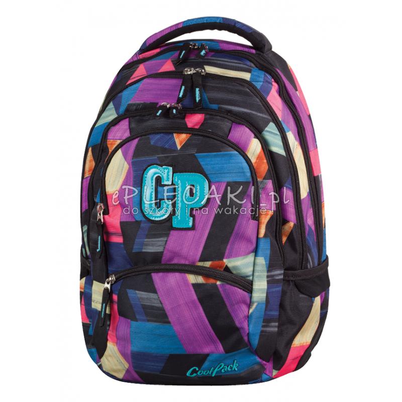 08296a37812a0 Plecak młodzieżowy CoolPack CP kolorowe łatki - 5 przegród COLLEGE COLOR  STROKES 672 dla dziewczynki