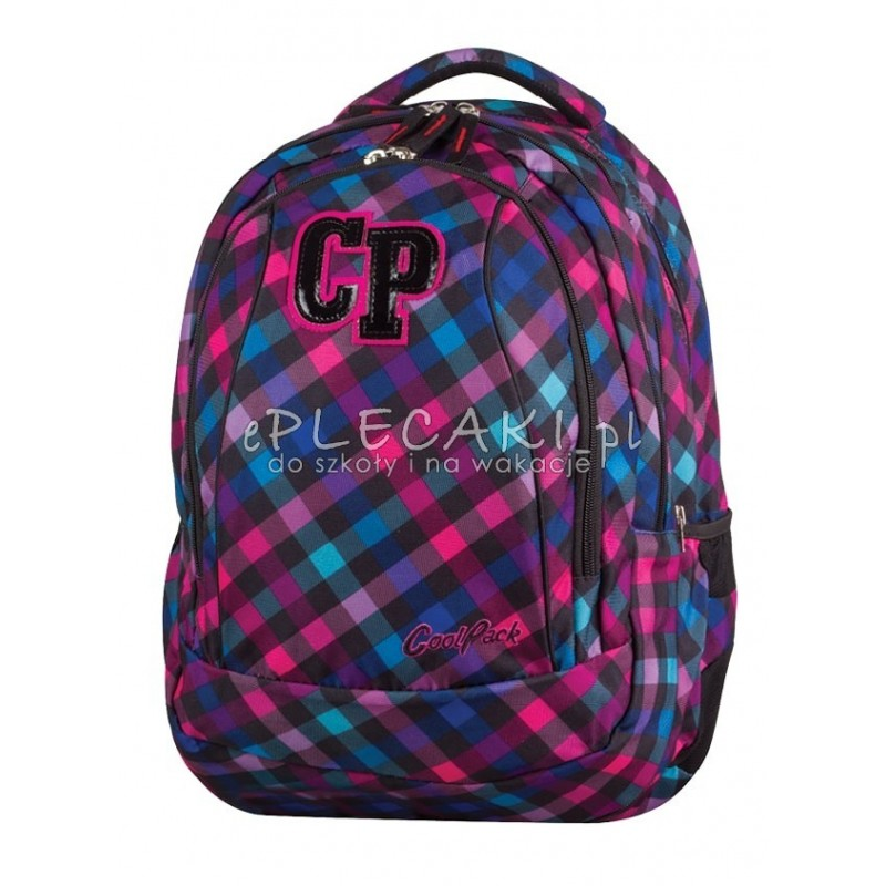96a813a90e858 Plecak młodzieżowy 2w1 CoolPack CP różowo-fioletowy w kratkę - COMBO  SCARLET 667 dla dziewczynki