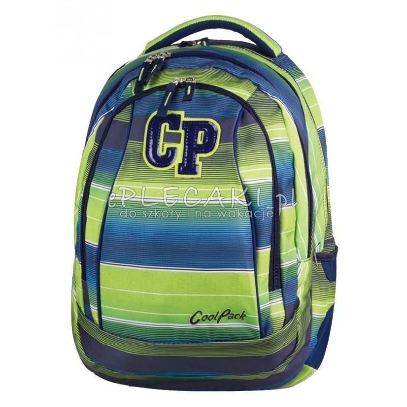 Plecak młodzieżowy CoolPack CP zielono niebieski w paski 2w1 COMBO MULTI STRIPES 646