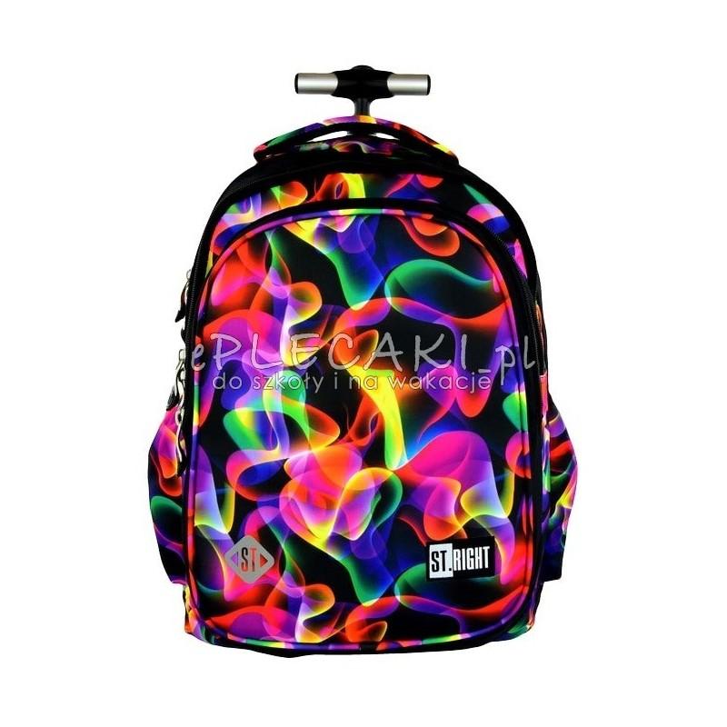 34c716f36f7e6 Plecak na kółkach ST.RIGHT ILLUSION czarny w kolorowe fale dla dziewczynki
