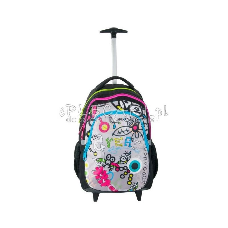 2db0f36cc2775 Szkolny plecak na kółkach Paso Big Dream - Great dla dziewczynki - czarny z  kolorowymi zamkami