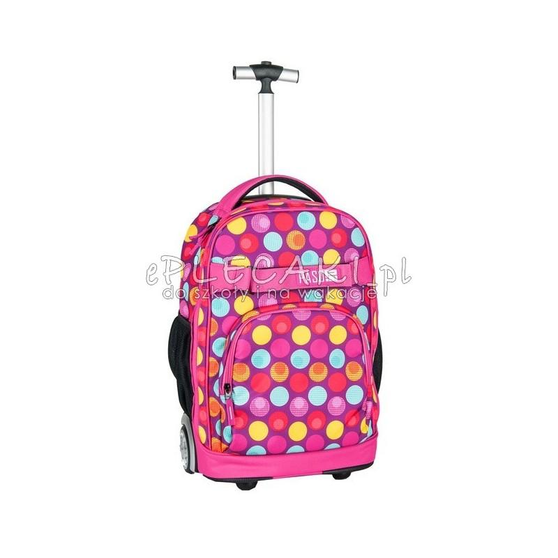bbbce28fad8c7 Plecak na kółkach Paso Pink Spot w kolorowe kropki dla dziewczynki