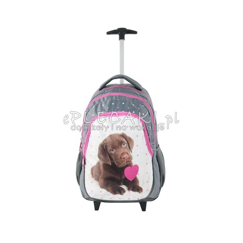 Lekki plecak na kółkach Paso z pieskiem - brązowy labrador