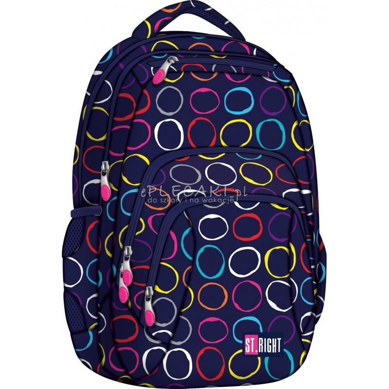 ca242ff86cf15 Plecak szkolny 25 ST.RIGHT Hoops w kolorowe kółka dla dziewczynki