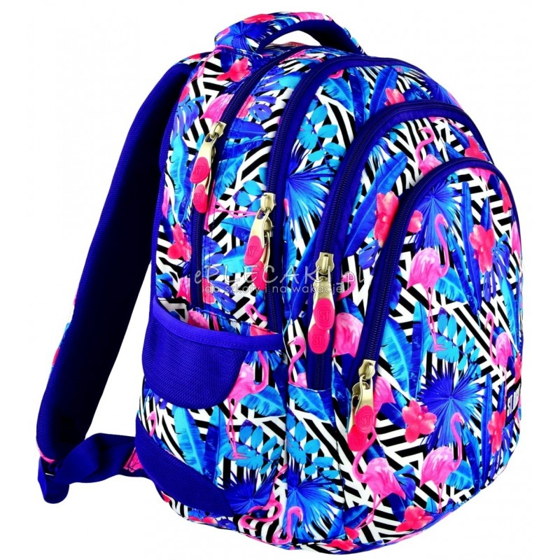 e220568ea761e Plecak młodzieżowy 06 ST.RIGHT FLAMINGO PINK&BLUE flaming niebieski