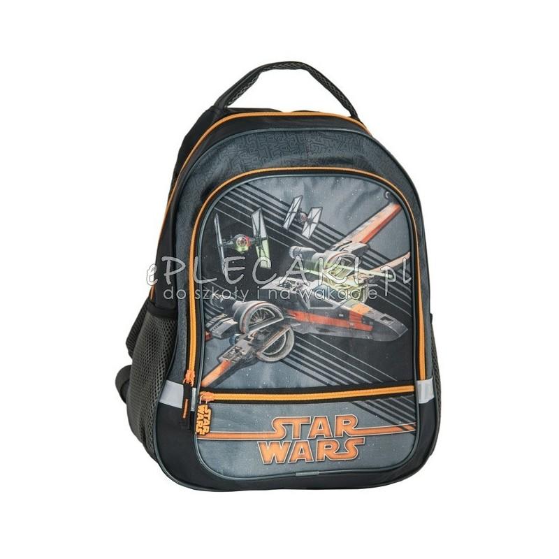 19a250601a018 Czarny plecak szkolny Gwiezdne Wojny Star Wars dla chłopca ze statkiem  kosmicznym