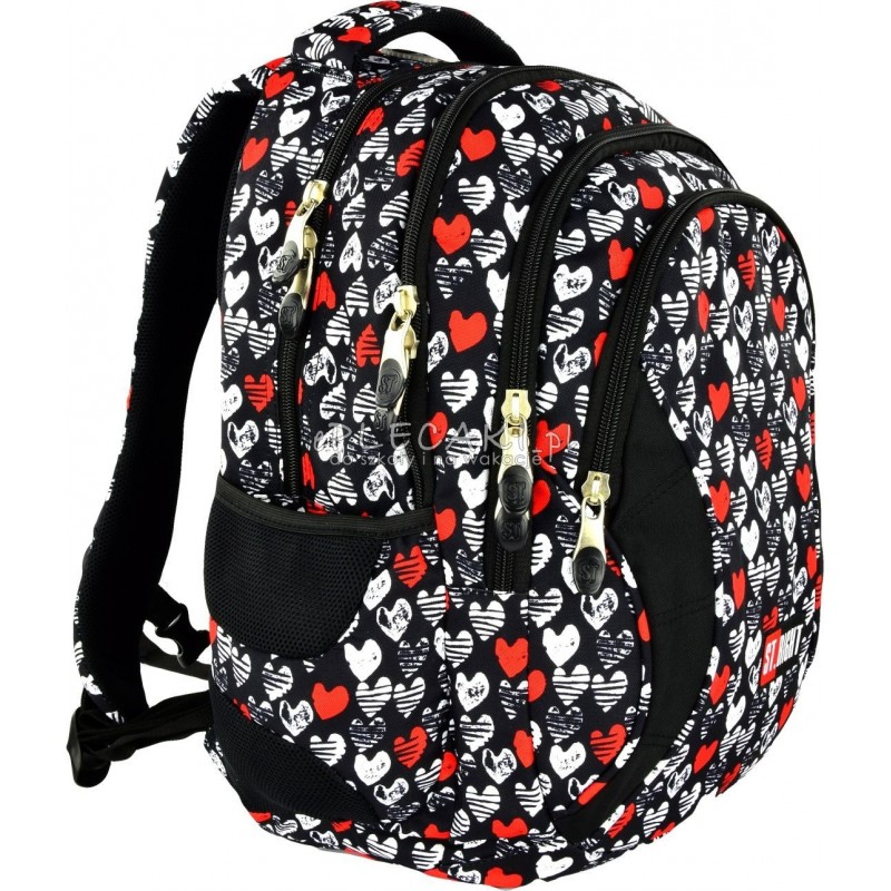 Plecak młodzieżowy 02 ST.RIGHT HEARTBEAT czarny w serduszka