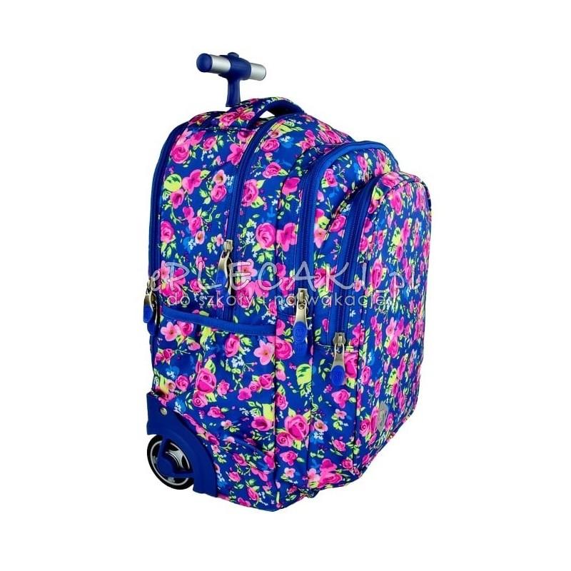 Plecak na kółkach ST.REET niebieski w kwiaty FLOWERS NAVY BLUE