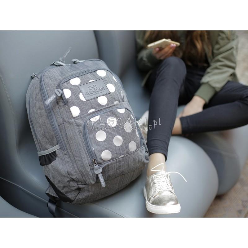156d824969142 Plecak młodzieżowy dla dziewczyny CoolPack CP szary w kropki UNIT SILVER  DOTS GREY nowość 702