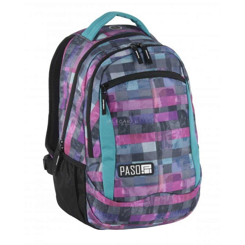 b2691c01c3c00 Plecak szkolny Paso Unique Block w kratkę dla młodzieży