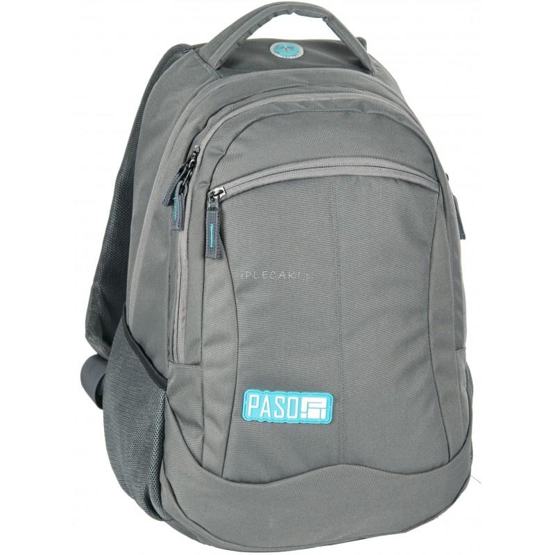 eb8a1bde0326e Plecak szkolny Paso Unique Grey szary dla młodzieży