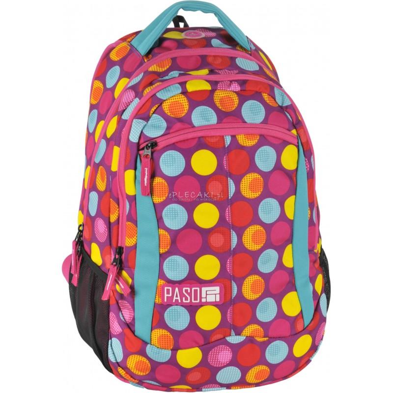 48c42b3050cfb Plecak szkolny Paso Unique Pink Spot w kolorowe kropki dla dziewczynki