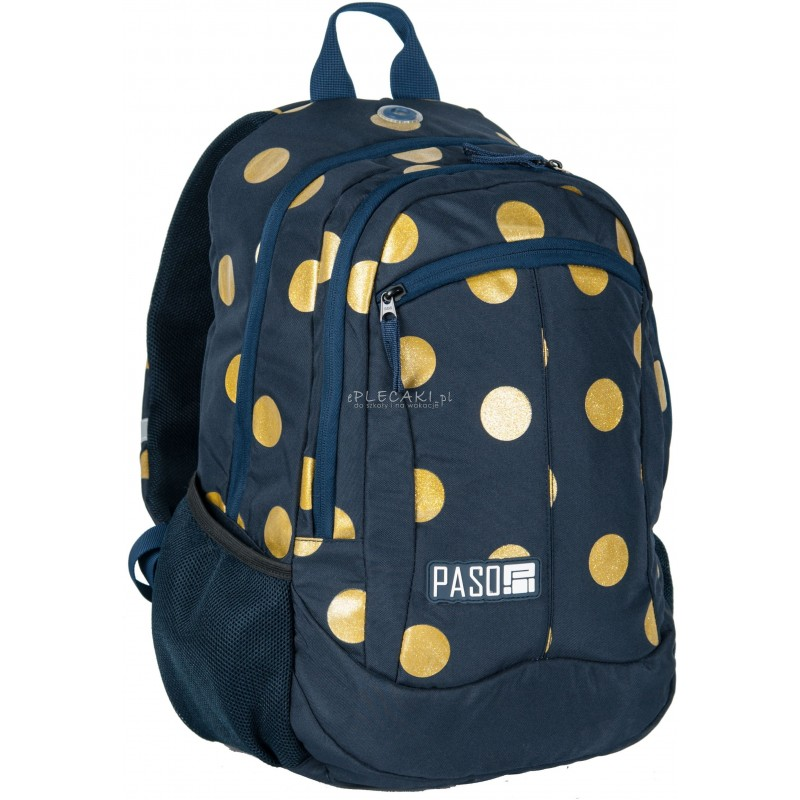 778572f068d64 Plecak szkolny Paso Unique Gold Circle w złote kropki dla dziewczynki