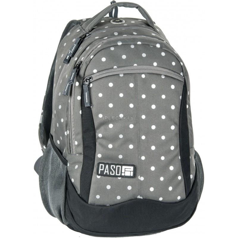 c83f6c90e0973 Plecak młodzieżowy Paso Unique Silver Dot - szary w srebrne kropki dla  dziewczynki