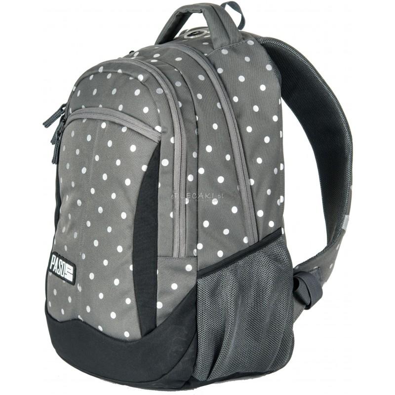 ee28de13f080e ... Plecak młodzieżowy Paso Unique Silver Dot - szary w srebrne kropki dla  dziewczynki ...