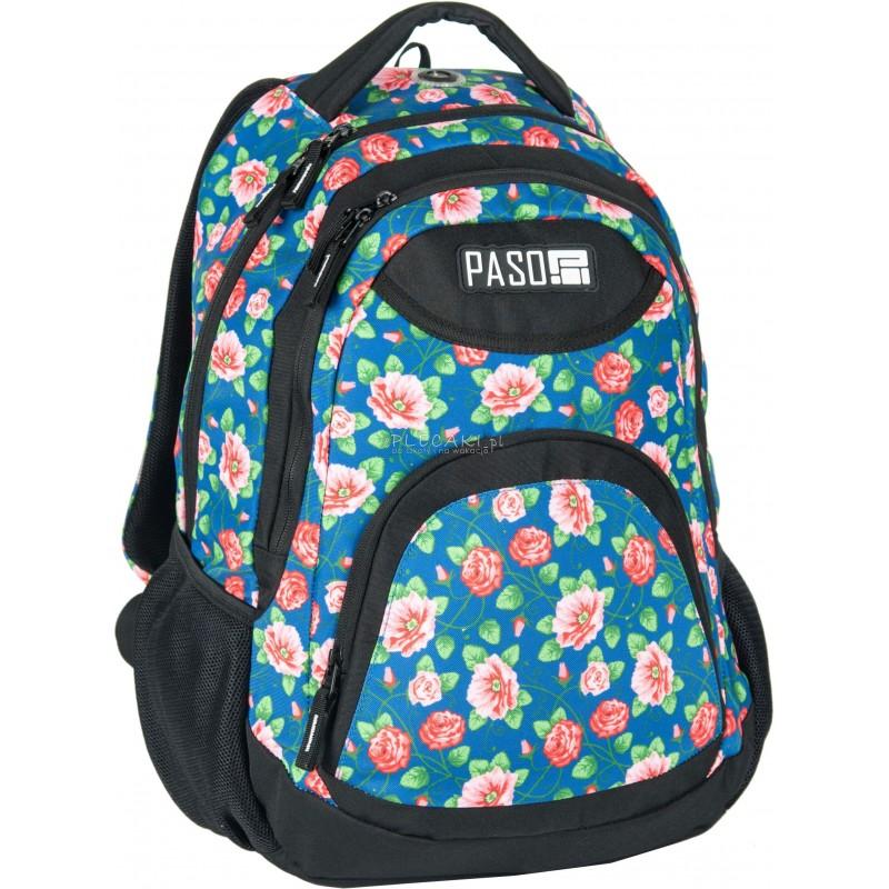 75b6bcd7acf29 Plecak młodzieżowy Paso Unique Flower niebieski w kwiaty dla dziewczynki