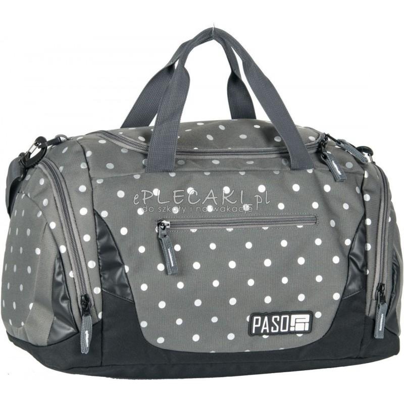 42ce194c1c16a1 Torba sportowa / fitness Paso Unique Silver Dots szara w srebrne kropki -  damska dla dziewczyny