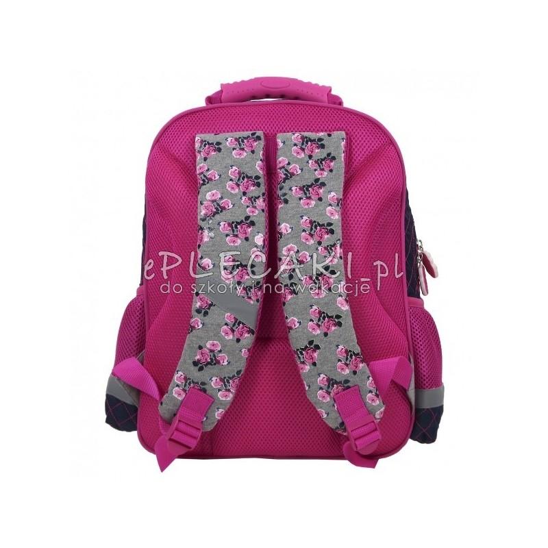 cf28a94b69ce4 ... Plecak szkolny z końmi - szaro-różowy w kwiatki dla dziewczynki - do  klas 1 ...