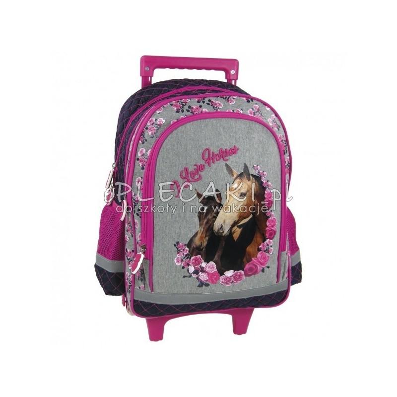 3d2c9f41d8b04 Plecak szkolny na kółkach z koniem - szary i granatowy w kwiatki -  przyjemny materiał -