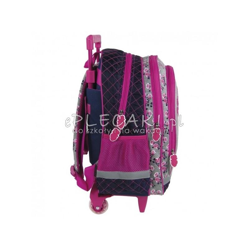 1e4bea3aa230a ... Plecak szkolny na kółkach z koniem - szary i granatowy w kwiatki -  przyjemny materiał ...