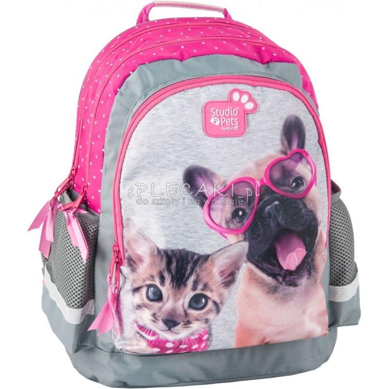 94aa6f7cc6fc8 Plecak szkolny Studio Pets z psem i kotem dla dziewczynki szaro różowy  plecak w kropki