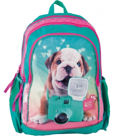 Plecak szkolny Studio Pets z pieskiem buldogiem dla dziewczynki