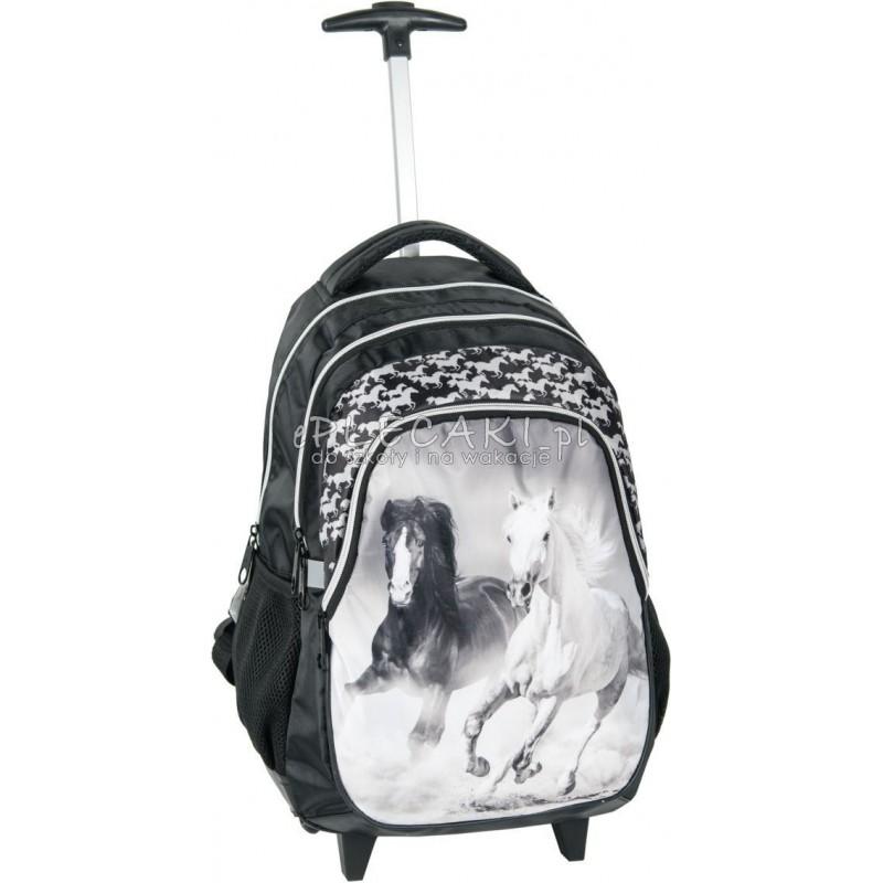 73c2910395bc6 Piękny plecak szkolny na kółkach z końmi dla dziewczynki - czarno-biały
