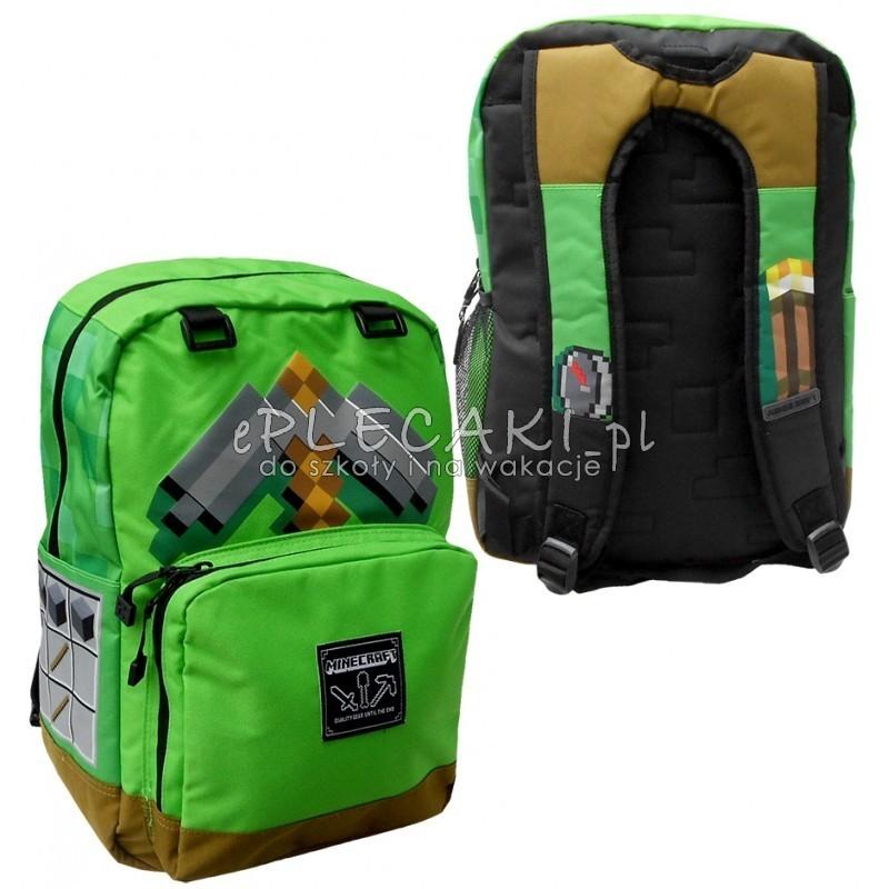 01af8400a068d Plecak szkolny Minecraft zielony na laptopa dla chłopca