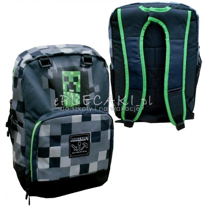 7009867136b6f Plecak szkolny Minecraft szary z kieszenią na laptopa dla chłopca