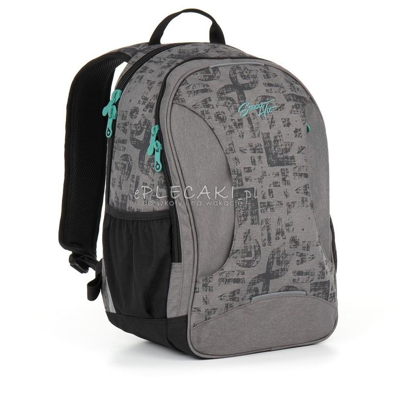 78f6fe8014c54 Plecak młodzieżowy Topgal do szkoły szary melanż z napisami HIT 893