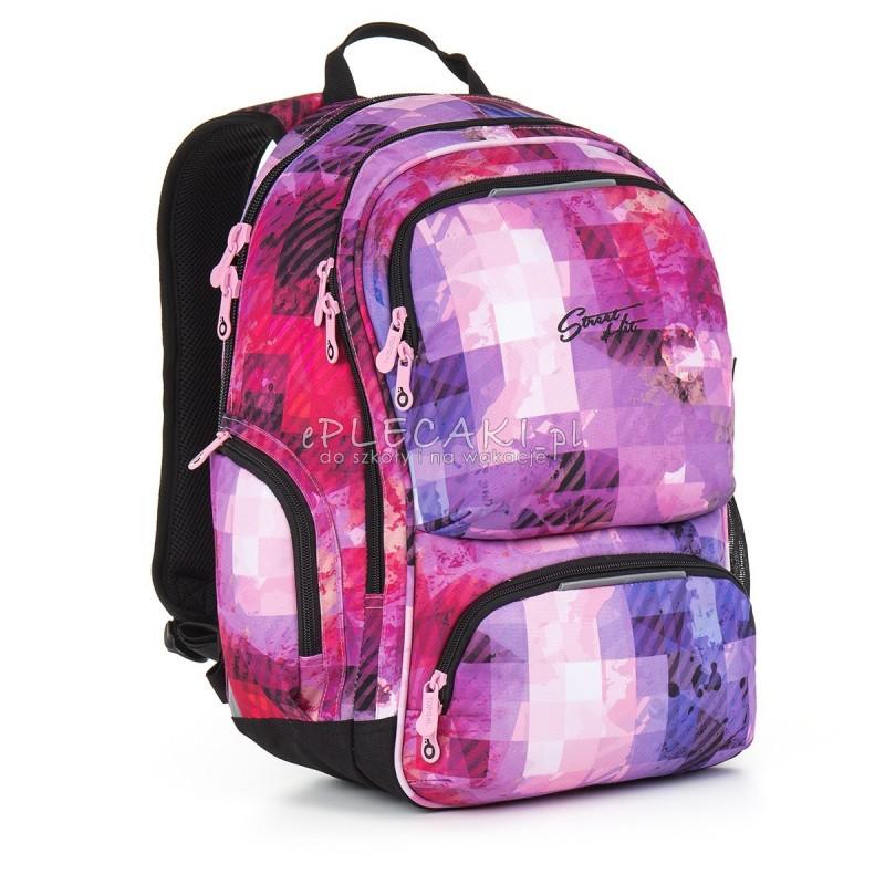 e0269ea762731 Plecak młodzieżowy Topgal dla dziewczyny różowy w kratkę HIT 891H do szkoły