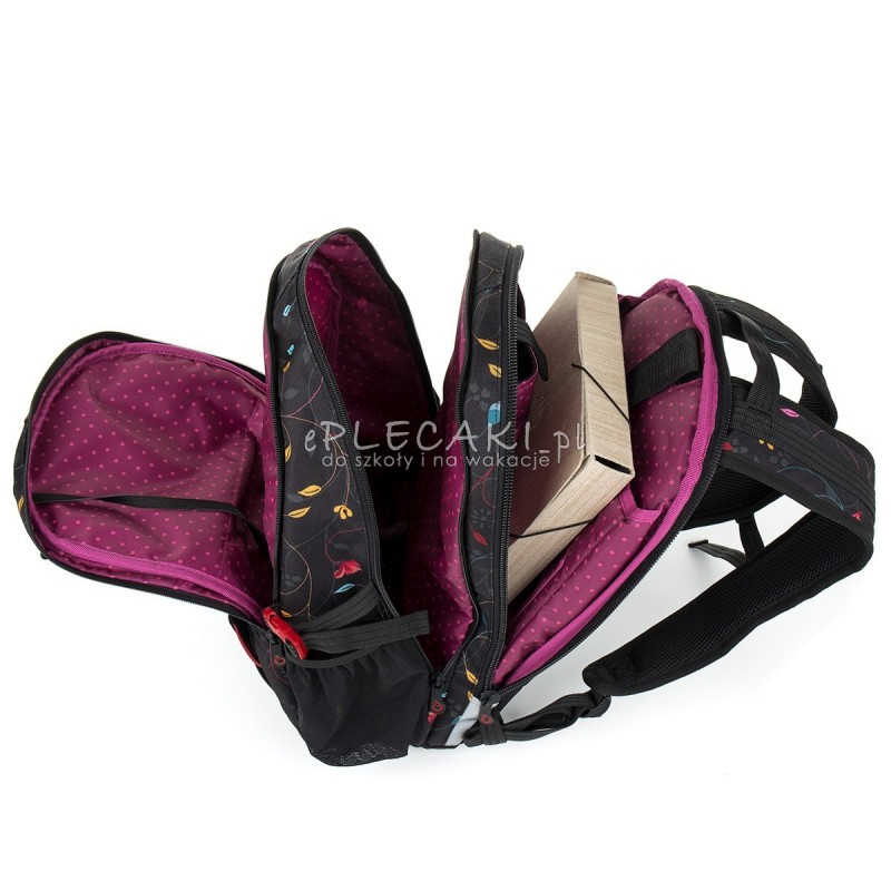 238f9699ce80b ... Plecak młodzieżowy Topgal dla dziewczyny czarny w liście HIT 885A -  nowość ...