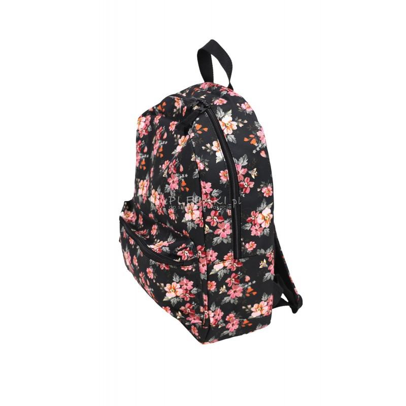 9971ac96a6384 Czarny plecak w różowe kwiaty ludowe do szkoły dla dziewczyny